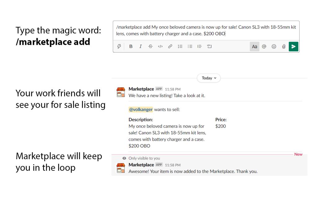 marketplace slack bot help how to use